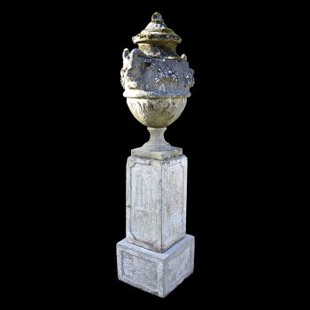 Lidded Urn on a Two-Part Plinth