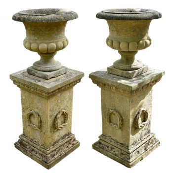 Carved Cotswolds Stone Urns