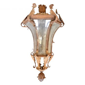 Iron Lantern with Acanthus-leaf detailing