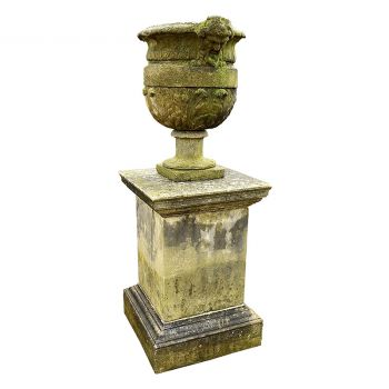 Early 20th Century Stone Urn on a Three Part Plinth
