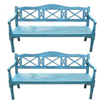 Pair of Blue Regency Style Wooden Benches